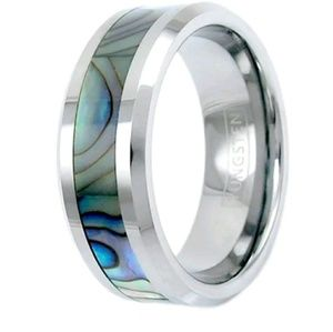 Tungsten Abalone Ring Size 5